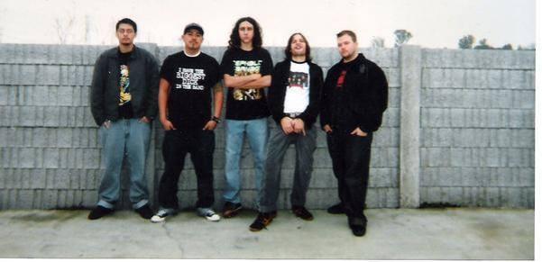 Fr L: Ray, Phillip, Matt, Hobart, & Derrick. Held In Scorn. Rehearsal space. Stockton, CA 2003.
