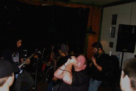 Fr. L: Matt, Hobart (drums), Phillip, Derrick, & Ray. HIS's 1st Show at the Blackwater Cafe - Stockton, CA. Fall 2003.